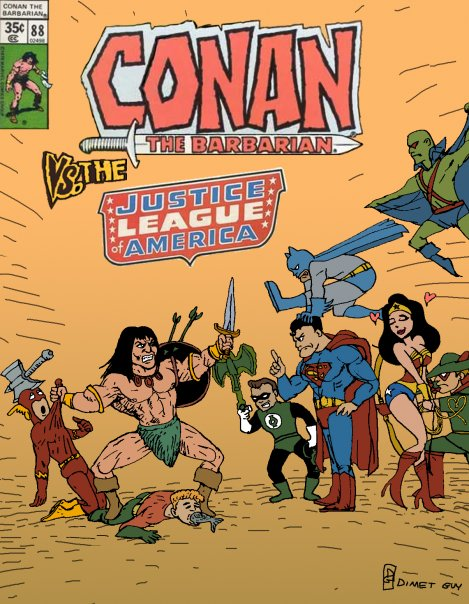 Conan vs the Justice League by Guy Dimet